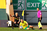 20th April 2021; Carrow Road, Norwich, Norfolk, England, English Football League Championship Football, Norwich versus Watford; Will Hughes of Watford competes for the ball with Teemu Pukki of Norwich City