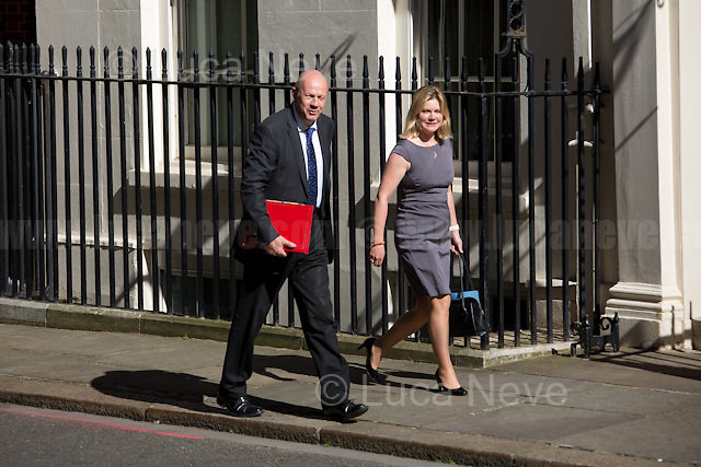 (From L to R) Damian Green (Secretary of State for Work and Pensions) & Justine Greening MP (Secretary of State for Education, Minister for Women and Equalities).<br /> <br /> London, 19/07/2016. First Cabinet meeting at 10 Downing Street (after the EU Referendum and consequent David Cameron's resignation) for the new Prime Minister Theresa May and her newly formed Conservative Government.<br /> <br /> For more information about the Cabinet Ministers: https://www.gov.uk/government/ministers