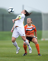 Kelsey Fenix (10) of the Charlotte Lady Eagles keeps her eye on Kaila Sciascia (16) of the Long Island Rough Riders during the game at the Maryland SoccerPlex in Boyds, Maryland.  The Charlotte Lady eagles defeated the Long Island Rough Riders, 4-0, to advance to the W-League Eastern Conference Championship.