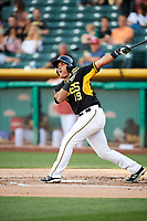 Carlos Perez (19) of the Salt Lake Bees bats against the Reno Aces in Pacific Coast League action at Smith's Ballpark on June 15, 2017 in Salt Lake City, Utah. The Aces defeated the Bees 13-5. (Stephen Smith/Four Seam Images)