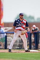 Quad Cities River Bandits first baseman Scott Schreiber (19) during a game against the West Michigan Whitecaps on July 23, 2018 at Modern Woodmen Park in Davenport, Iowa.  Quad Cities defeated West Michigan 7-4.  (Mike Janes/Four Seam Images)