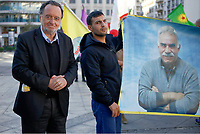 Pictured: Politician Panagiotis Lafazanis (L) joins Kurdish protesters who gathered at Syntagma Square in Athens Greece. <br /> Re: Kurdish people with protest against the Turkey president  Recep Tayyip Erdogan's visit to Greece. Thursday 07 December 2017