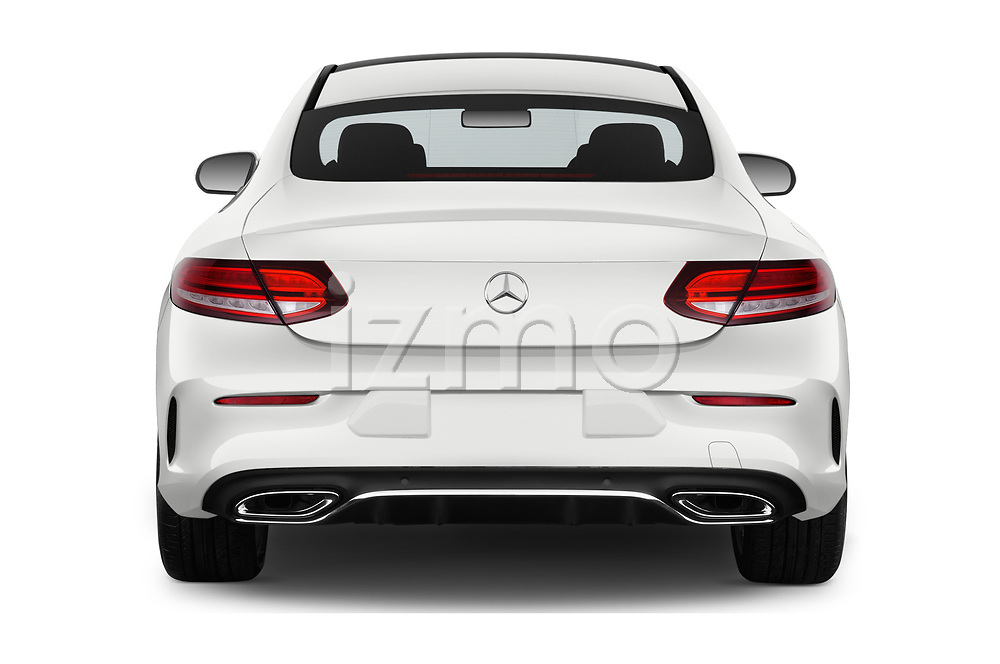 Straight rear view of 2019 Mercedes Benz C-Class AMG-Line 2 Door Coupe Rear View  stock images