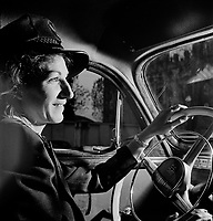 Training women to operate buses and taxicabs, 1942. Due to the bulk of American men being slated for the armed forces, women are stepping into jobs normally performed by men.<br /> <br /> Photo by Andreas Feininger.