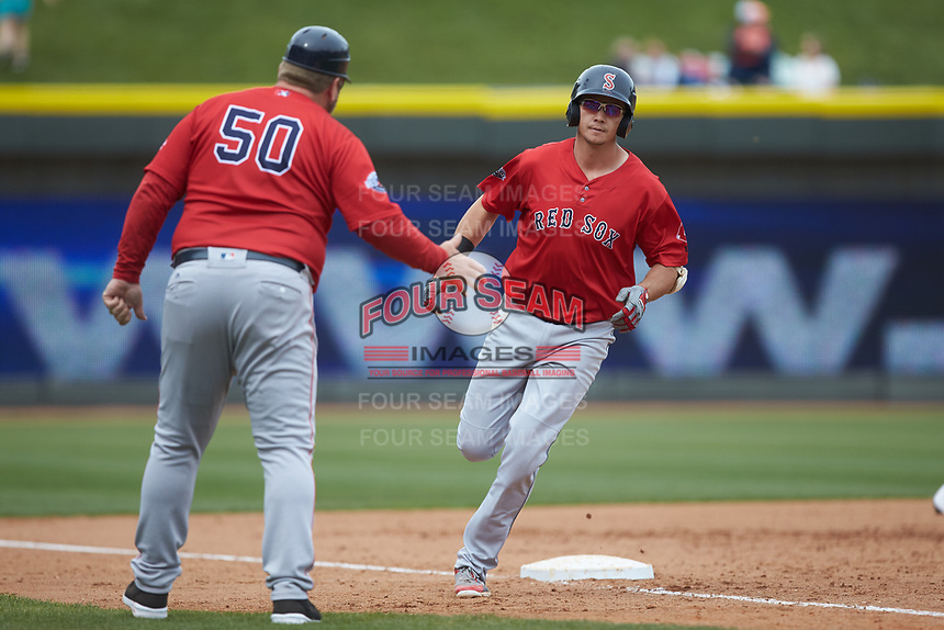 Bobby Dalbec (29) of the Salem Red Sox rounds third base after hitting a 2-run home run in the top of the 10th inning against the Winston-Salem Dash at BB&T Ballpark on April 22, 2018 in Winston-Salem, North Carolina.  The Red Sox defeated the Dash 6-4 in 10 innings.  (Brian Westerholt/Four Seam Images)