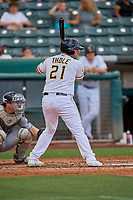 Josh Thole (21) of the Salt Lake Bees at bat against the New Orleans Baby Cakes at Smith's Ballpark on August 4, 2019 in Salt Lake City, Utah. The Baby Cakes defeated the Bees 8-2. (Stephen Smith/Four Seam Images)