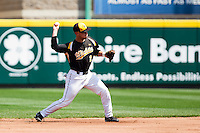 Tyler Coughenour (2) of the Wichita State Shockers throws to first during a game against the Missouri State Bears on April 9, 2011 at Hammons Field in Springfield, Missouri.  Photo By David Welker/Four Seam Images