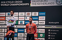 a happy Wout Van Aert (BEL/Crelan-Charles) overtowers a dissapointed Mathieu van der Poel (NED/Corendon-Circus)<br /> <br /> Elite Men's Race<br /> UCI CX Worlds 2018<br /> Valkenburg - The Netherlands