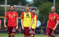 KV Mechelen players (Jordi Vanlerberghe (30) of KV Mechelen, Freddy Druijf (9) of KV Mechelen,xxx) laughing during the warm up before a friendly soccer game between KV Mechelen and the Greek Volos NFC during the preparations for the 2021-2022 season , on saturday 17 of July 2021 in GEEL , Belgium . PHOTO SEVIL OKTEM | SPORTPIX