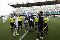 SAN JOSE, CA - JULY 06: Kyle Beckerman #5, Chris Wondolowski #8, coin toss during a Major League Soccer (MLS) match between the San Jose Earthquakes and Real Salt Lake on July 06, 2019 at Avaya Stadium in San Jose, California.