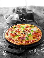 Italian prosciutto ham Pizza photos. Funky Stock pizzas photos