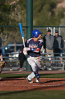 Savier Pinales (2) of Riverside University High School in Milwaukee, Wisconsin during the Baseball Factory All-America Pre-Season Tournament, powered by Under Armour, on January 14, 2018 at Sloan Park Complex in Mesa, Arizona.  (Freek Bouw/Four Seam Images)