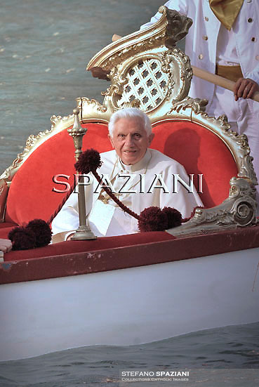 """Pope Benedict XVI rides on the """"Batolina"""" an historic gondola from St Mark's square to the basalica della Salute in Venice during the pontif pastoral visit to  Venice on May 8, 2011."""