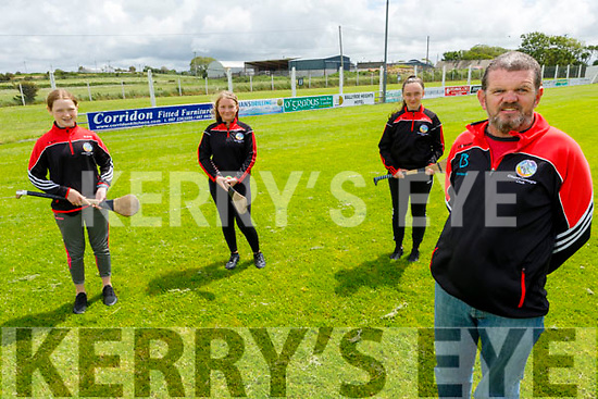 Looking forward to camogie restarting in the Cillard Camogie Club in the Kilmoyley GAA Club field. <br /> Front John Sheehan (Chairman).<br /> Back l to r: Ruth O'Connor, Anna McCarthy and Amy O'Loughlin.