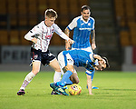 St Johnstone v Ross County…24.10.17…  McDiarmid Park…  SPFL<br />Stefan Scougall is fouled by Davis Keillor-Dunn<br />Picture by Graeme Hart. <br />Copyright Perthshire Picture Agency<br />Tel: 01738 623350  Mobile: 07990 594431