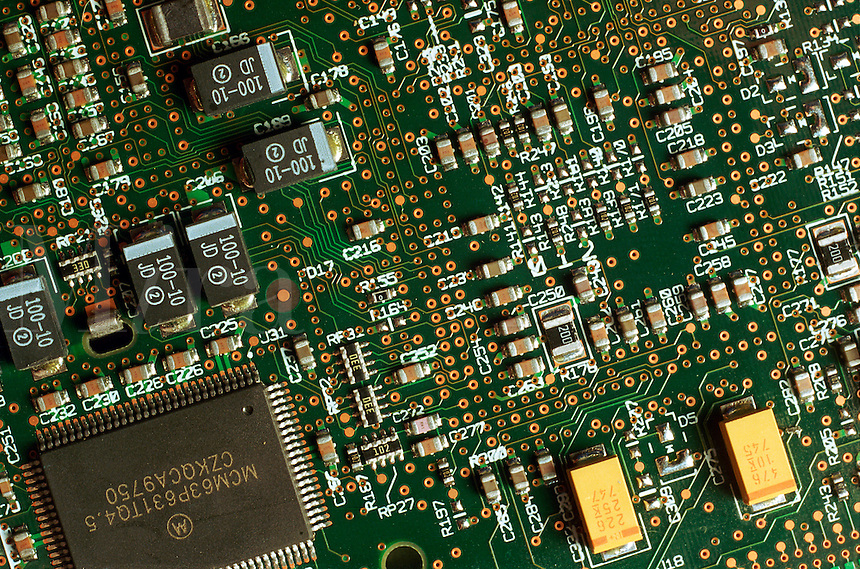 Detail view of a computer board.