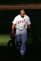 Albert Pujols #5 of the Los Angeles Angels during a game against the New York Yankees at Angel Stadium on June 15, 2013 in Anaheim, California. (Larry Goren/Four Seam Images)
