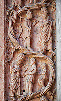 door pillaster relief sculptures on the Romanesque Baptistery of Parma, circa 1196, (Battistero di Parma), Italy