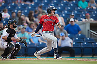 Nick Schnell (7) of the Charleston RiverDogs follows through on his swing against the Kannapolis Cannon Ballers at Atrium Health Ballpark on June 30, 2021 in Kannapolis, North Carolina. (Brian Westerholt/Four Seam Images)