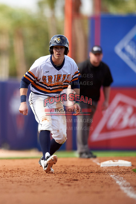 Canisius College Golden Griffins second baseman Jake Lumley (3) leads off third base during the second game of a doubleheader against the Michigan Wolverines on February 20, 2016 at Tradition Field in St. Lucie, Florida.  Michigan defeated Canisius 3-0.  (Mike Janes/Four Seam Images)