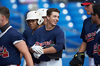 RJ Sale (3) of Pinecrest High School (NC) playing for the Atlanta Braves scout team is all smiles after hitting a home run during game four of the South Atlantic Border Battle at Truist Point on September 27, 2020 in High Pont, NC. (Brian Westerholt/Four Seam Images)