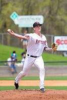 Wisconsin Timber Rattlers pitcher Bowden Francis (33) throws to first base during a Midwest League game against the Lansing Lugnuts on May 8, 2018 at Fox Cities Stadium in Appleton, Wisconsin. Lansing defeated Wisconsin 11-4. (Brad Krause/Four Seam Images)