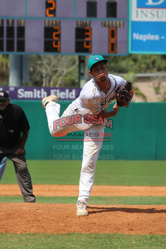 Florida Southwestern pitcher Antonio Knowles (7) during a game against State College of Florida on April 24, 2021 at City of Palms Park in Fort Myers, Florida.  (Bryan Green/Four Seam Images)