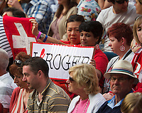 26-06-13, England, London,  AELTC, Wimbledon, Tennis, Wimbledon 2013, Day three, Roger Federer fans<br /> <br /> <br /> <br /> Photo: Henk Koster
