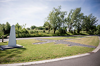roadside war memorial for a nearby crashed British RAF plane during WW2 in Kaekebeke (LIerde)<br /> <br /> cycling hotspots & impressions in the Vlaamse Ardennen (Flemish Ardennes) along the 181km Spartacus (Chasing Cancellara) cycling route<br /> <br /> Cycling In Flanders <br /> Flanders Tourist Board<br /> <br /> ©kramon