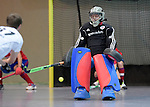 GER - Mannheim, Germany, November 28: During the 1. Bundesliga Sued Herren indoor hockey match between Mannheimer HC (red) and TG Frankenthal (white) on November 28, 2015 at Irma-Roechling-Halle in Mannheim, Germany. Final score 7-7 (HT 3-3). (Photo by Dirk Markgraf / www.265-images.com) *** Local caption *** Lukas Stumpf #4 of Mannheimer HC