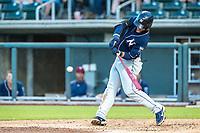 Northwest Arkansas Naturals infielder Nick Pratto (32) at bat against the Wichita Wind Surge at Riverfront Stadium on July 9, 2021 in Wichita, Kansas. (William Purnell/Four Seam Images)