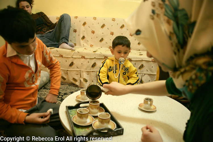 Turkish family about to drink Turkish coffee in Istanbul, Turkey