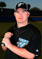 March 1, 2010:  Third Baseman Brad Emaus (77) of the Toronto Blue Jays poses for a photo during media day at Englebert Complex in Dunedin, FL.  Photo By Mike Janes/Four Seam Images