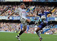 Pictured L-R: Angel Rangel of Swansea against Ashley Cole of Chelsea. Saturday 17 September 2011<br />