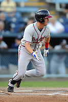 Rome Braves second baseman Levi Hyams #7 swings at a pitch during a game against the Asheville Tourists at McCormick Field on May 23, 2013 in Asheville, North Carolina. The Braves won the game 6-1. (Tony Farlow/Four Seam Images).
