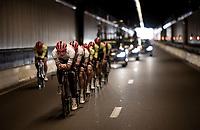 Jasper Stuyven (BEL/Trek-Segafredo) / Team Trek-Segafredo during the morning course reconnaissance <br /> <br /> Stage 2 (TTT): Brussels to Brussels(BEL/28km) <br /> 106th Tour de France 2019 (2.UWT)<br /> <br /> ©kramon