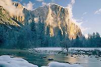 Merced River and El Capitan <br /> Yosemite Valley<br /> Yosemite National Park<br /> Sierra Nevada,  California