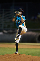 Mooresville Spinners relief pitcher Wade Chandler (19) (UNC Asheville) in action against the Dry Pond Blue Sox at Moor Park on July 2, 2020 in Mooresville, NC.  The Spinners defeated the Blue Sox 9-4. (Brian Westerholt/Four Seam Images)