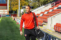 Fleetwood Town's goalkeeper Alex Cairns (1) arriving for the Sky Bet League 1 match between Fleetwood Town and Barnsley at Highbury Stadium, Fleetwood, England on 29 September 2018. Photo by Stephen Buckley / PRiME Media Images.