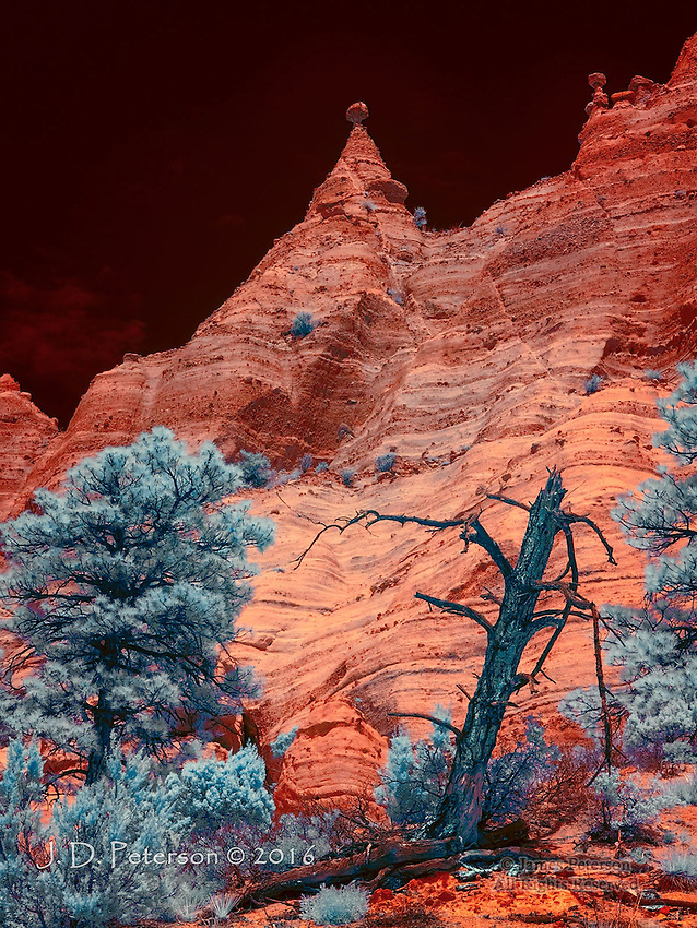 The Pinnacle (Infrared) ©. 2016 James D Peterson.  The otherworldly volcanic formations of New Mexico's Kasha-Katuwe Tent Rocks National Monument are enlivened by the exotic hues of a color infrared image.<br />