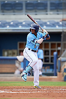Charlotte Stone Crabs Wander Franco (1) at bat during a Florida State League game against the Bradenton Maruaders on August 7, 2019 at Charlotte Sports Park in Port Charlotte, Florida.  Charlotte defeated Bradenton 2-0 in the first game of a doubleheader.  (Mike Janes/Four Seam Images)