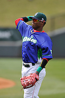 Center fielder Luis Alexander Basabe (19) of the Greenville Drive warms up before a game against the Asheville Tourists on Sunday, April 10, 2016, at Fluor Field at the West End in Greenville, South Carolina. Greenville won 7-4. (Tom Priddy/Four Seam Images)
