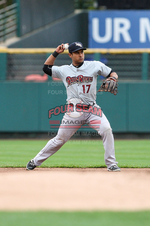 Scranton Wilkes-Barre Railriders second baseman Donovan Solano (17) throws to first base against the Rochester Red Wings on May 1, 2016 at Frontier Field in Rochester, New York. Red Wings won 1-0.  (Christopher Cecere/Four Seam Images)