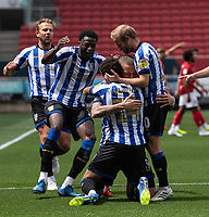 Sheffield Wednesday's Connor Wickham celebrates scoring his side's first goal with team mates<br /> <br /> Photographer David Horton/CameraSport<br /> <br /> The EFL Sky Bet Championship - Bristol City v Sheffield Wednesday - Sunday 28th June 2020 - Ashton Gate Stadium - Bristol <br /> <br /> World Copyright © 2020 CameraSport. All rights reserved. 43 Linden Ave. Countesthorpe. Leicester. England. LE8 5PG - Tel: +44 (0) 116 277 4147 - admin@camerasport.com - www.camerasport.com