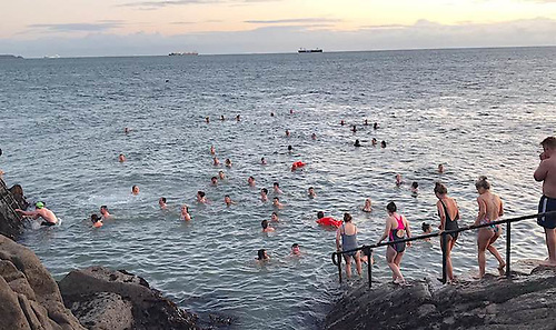 A scene at the Forty Foot bathing place during Winter 2020