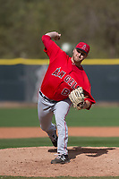 Los Angeles Angels relief pitcher Matt Custred (89) during a Minor League Spring Training game against the Colorado Rockies at Tempe Diablo Stadium Complex on March 18, 2018 in Tempe, Arizona. (Zachary Lucy/Four Seam Images)