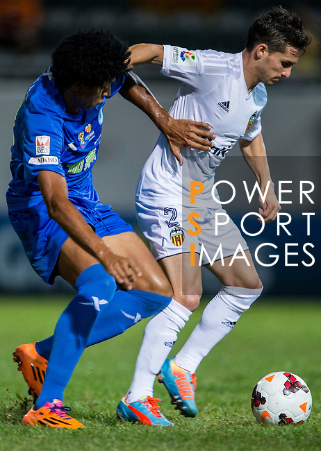 (R) Pablo Piatti of Valencia CF being fouled by (L) Ivan Zarandona of BC Rangers FC during LFP World Challenge 2014 between Valencia CF vs BC Rangers FC on May 28, 2014 at the Mongkok Stadium in Hong Kong, China. Photo by Victor Fraile / Power Sport Images