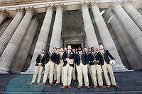 Photo: Richard Lane/Richard Lane Photography. Wasps in the City, Paternoster Square, London. 30/04/2015. Wasps players on the steps of St. Paul's Cathedral.