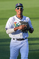 Cedar Rapids Kernels infielder Edgar Corcino (36) warms up prior to game five of the Midwest League Championship Series against the West Michigan Whitecaps on September 21st, 2015 at Perfect Game Field at Veterans Memorial Stadium in Cedar Rapids, Iowa.  West Michigan defeated Cedar Rapids 3-2 to win the Midwest League Championship. (Brad Krause/Four Seam Images)