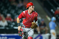 North Carolina State Wolfpack catcher Andy Cosgrove (2) runs down the first base line to backup a play during the game against the North Carolina Tar Heels in Game Twelve of the 2017 ACC Baseball Championship at Louisville Slugger Field on May 26, 2017 in Louisville, Kentucky.  The Tar Heels defeated the Wolfpack 12-4 to advance to the semi-finals.  (Brian Westerholt/Four Seam Images)